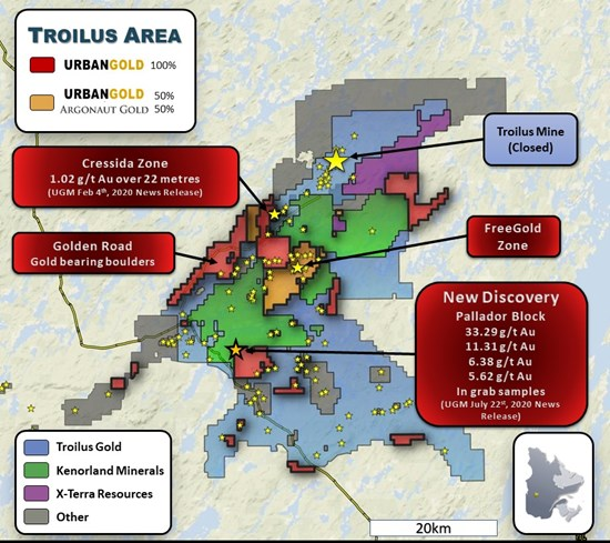 Urbangold Assays Up To 33 G T Au In Grab Samples At Troilus Pallador - Mining